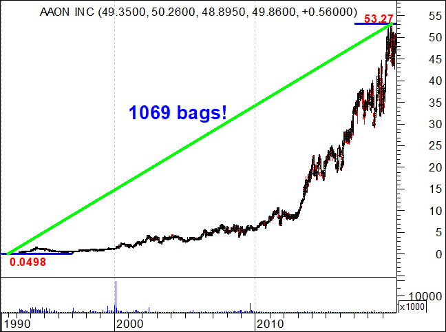 AAON Stock rised 1069 bags